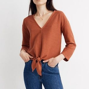 NWT ✨ Texture & Thread Long Sleeve Tie-Front Top